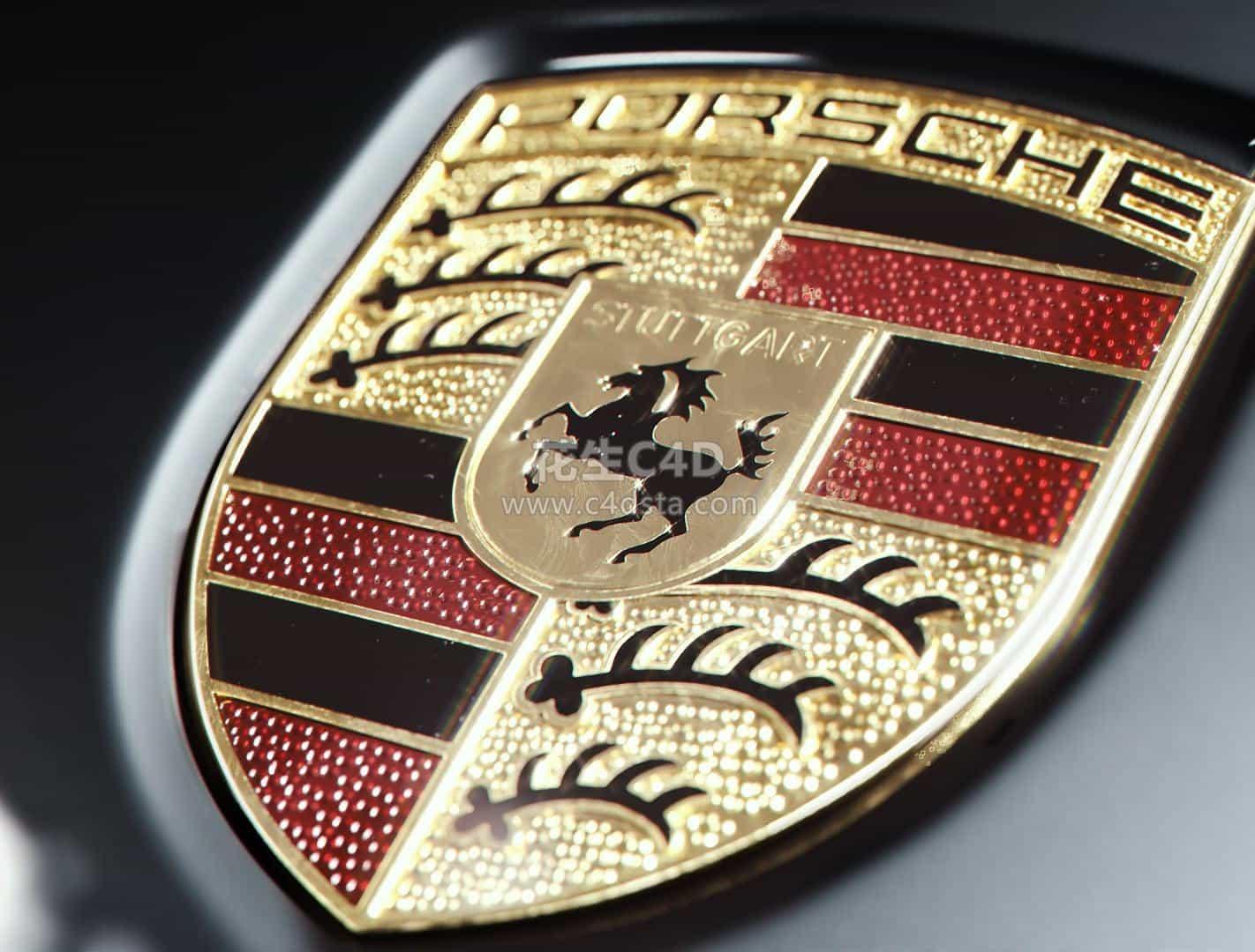 三维模型:保时捷汽车Logo 标志 车标 C4D/FBX 626CG资源站
