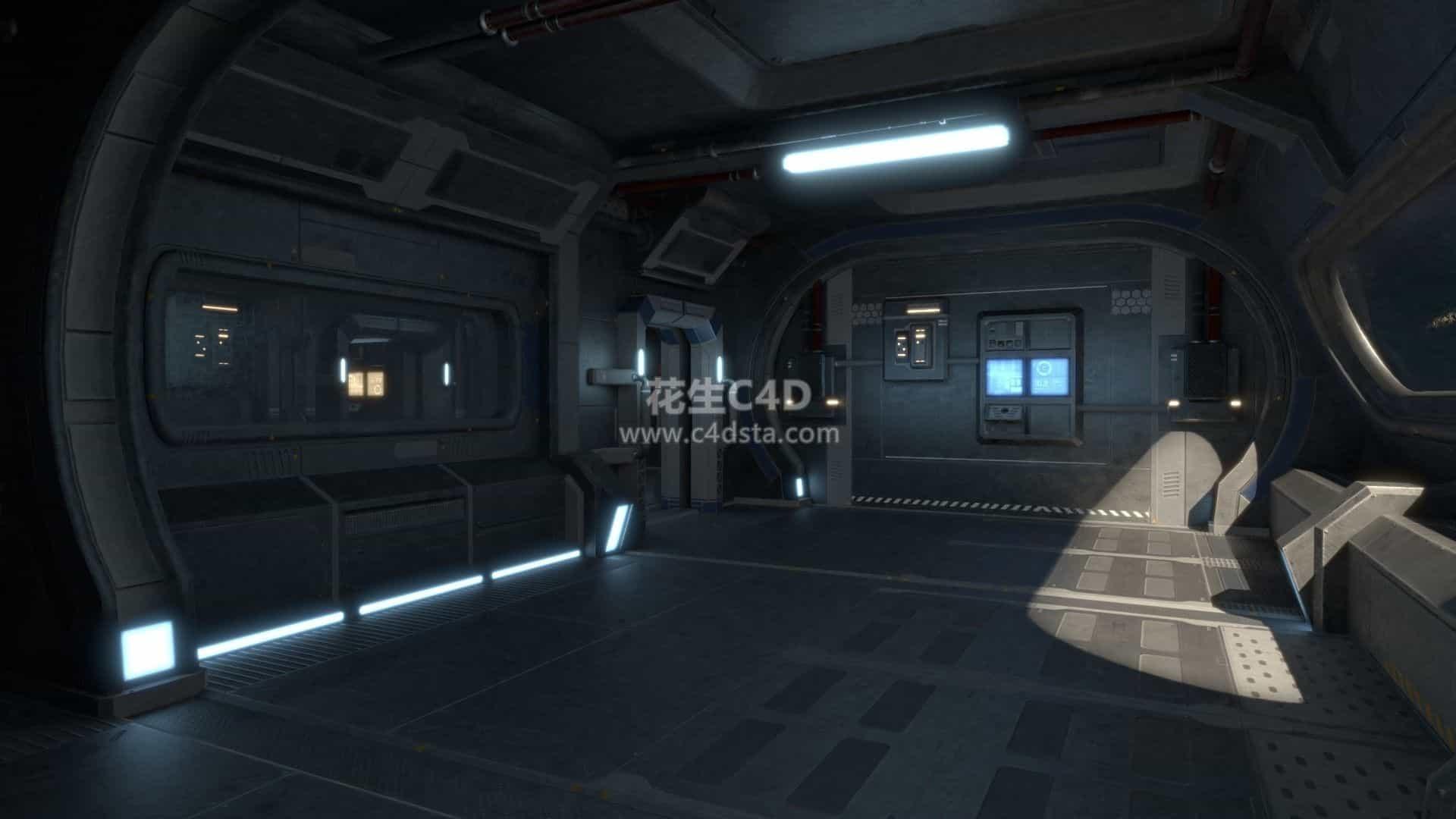 三维模型-科幻概念场景太空舱空间站内部结构机械硬表面模型 626CG资源站