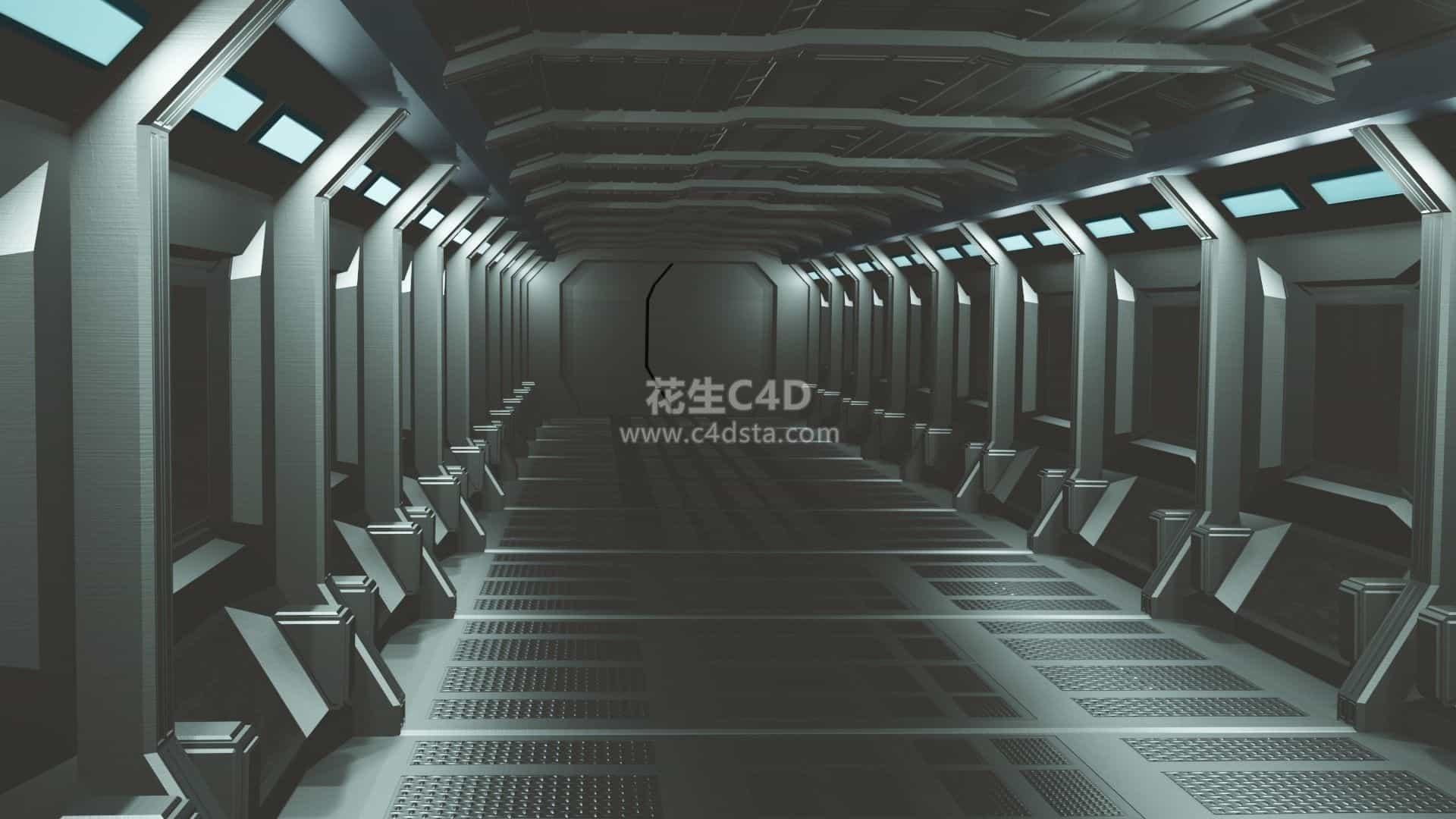 三维模型-科幻概念场景太空舱空间站走廊模型 626CG资源站