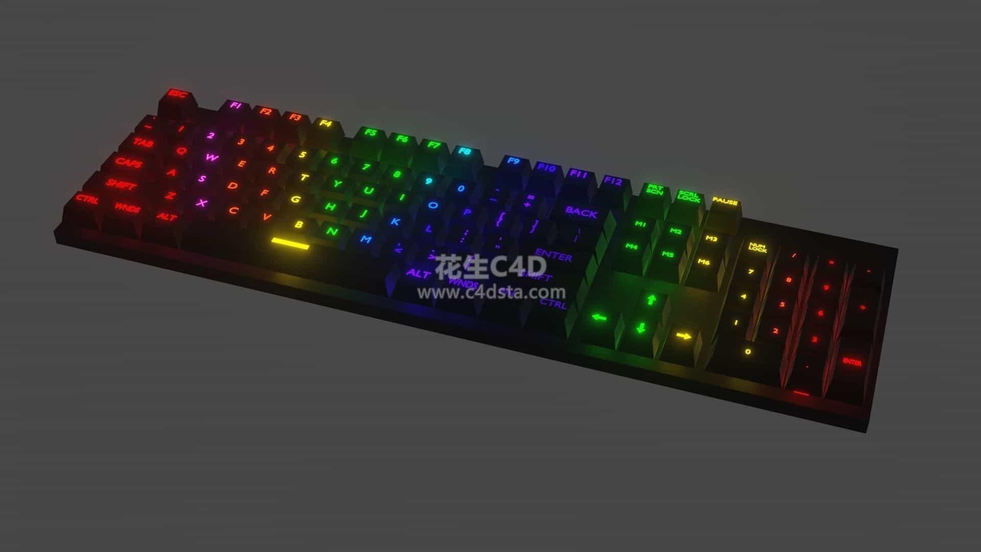 三维模型-机械键盘发光键盘电脑配件模型 626CG资源站