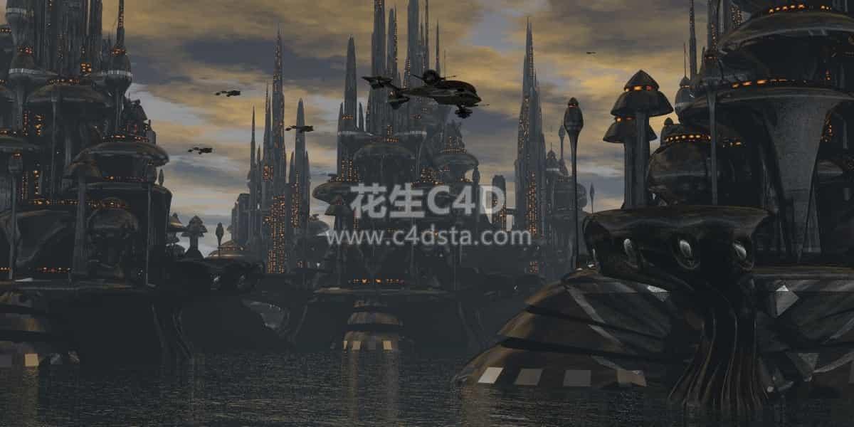 三维模型-未来科幻风格三维城市模型 626CG资源站