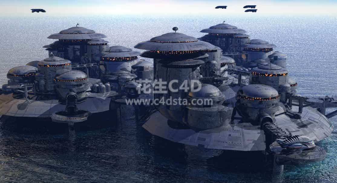 三维模型-科技感未来科幻城市模型 626CG资源站