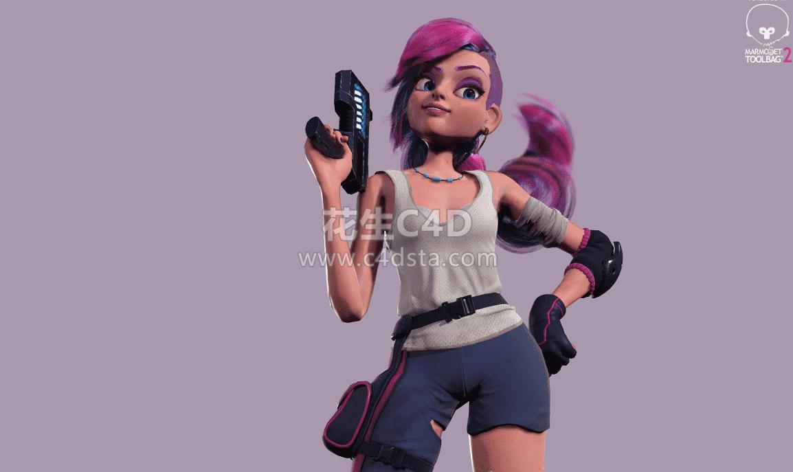 三维模型:疯狂的女孩3D角色人物模型3DMAX OBJ FBX 含贴图含材质-Artstation – Mad Ping Girl 3D Model 626CG资源站