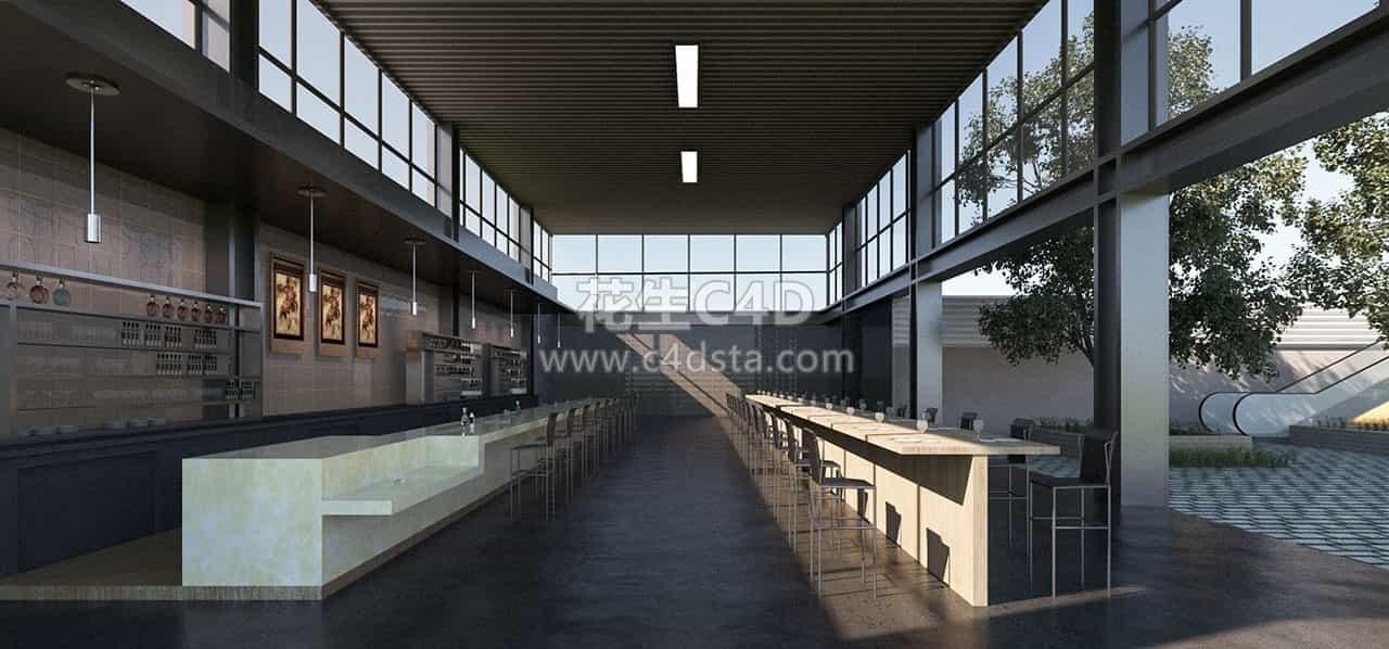 三维模型-现代咖啡厅餐吧室内场景模型 626CG资源站
