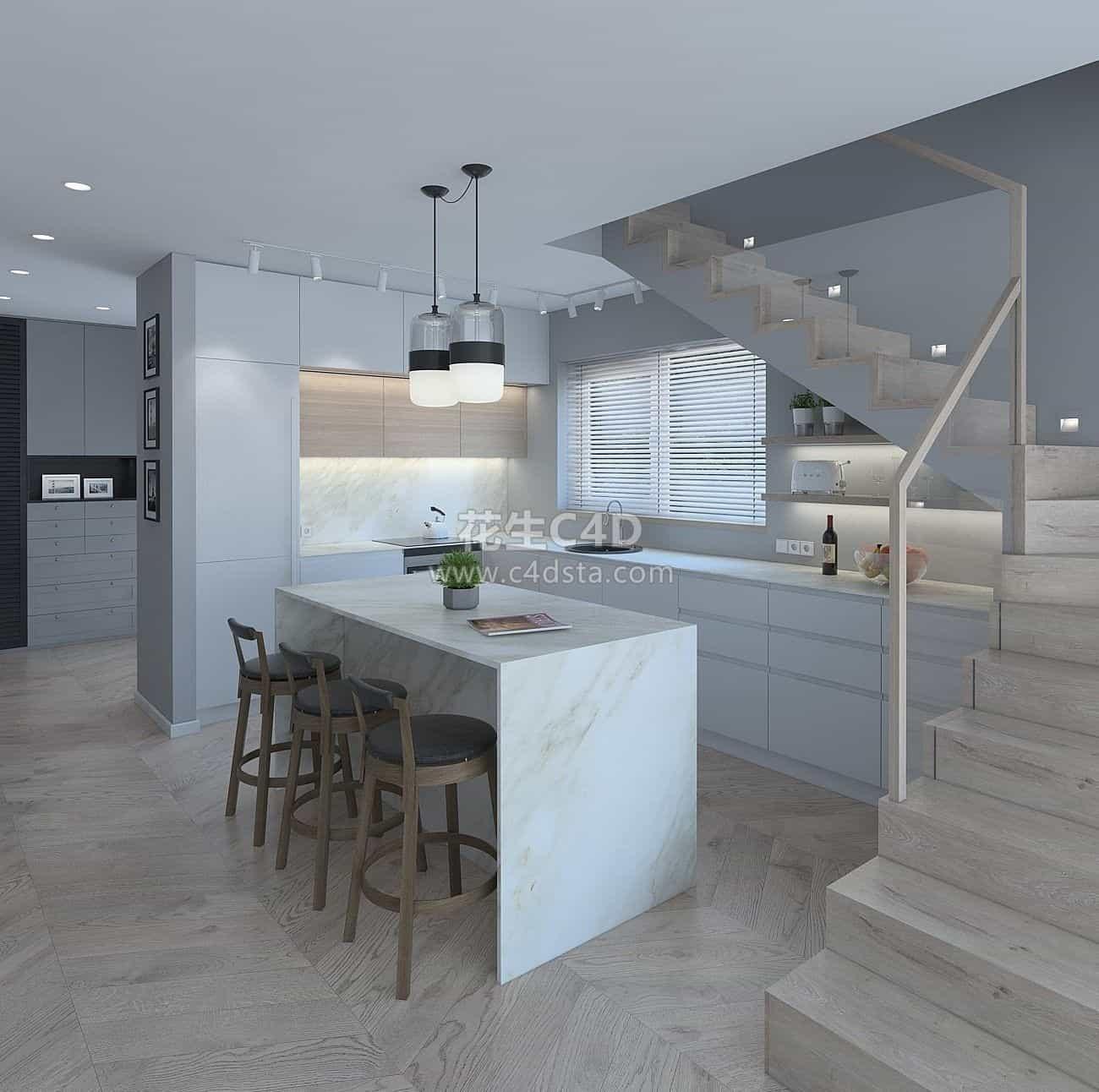 三维模型-室内家具餐台厨房灶台楼梯模型 626CG资源站