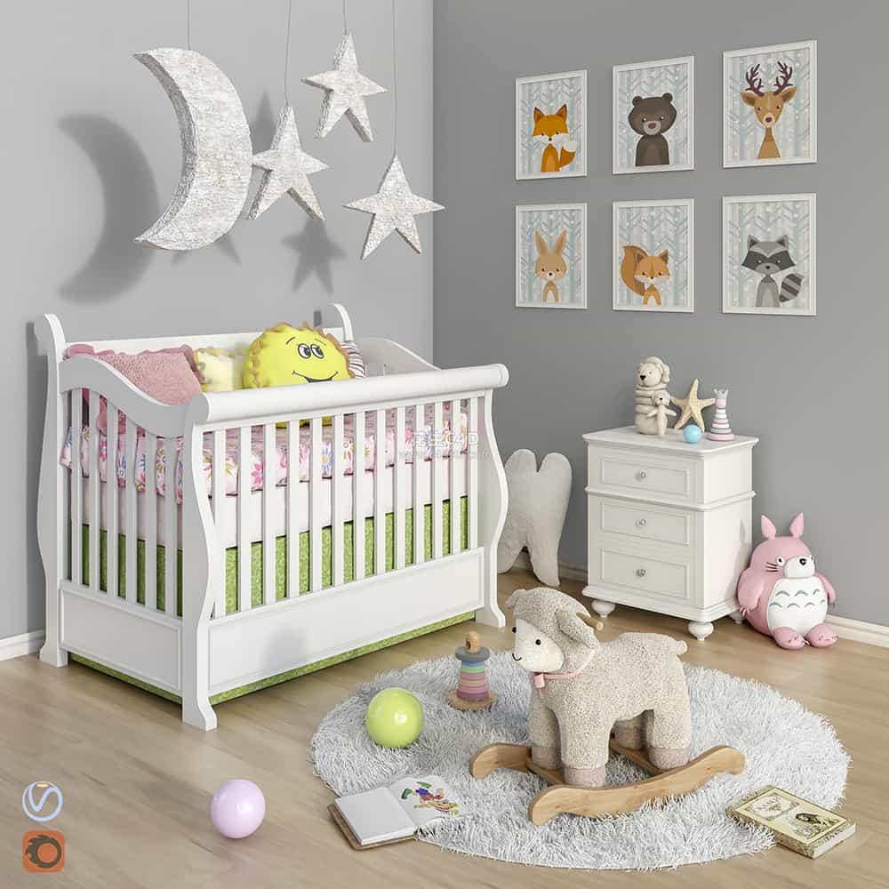 三维模型-卡通房间室内卡通玩具宝宝房模型 626CG资源站