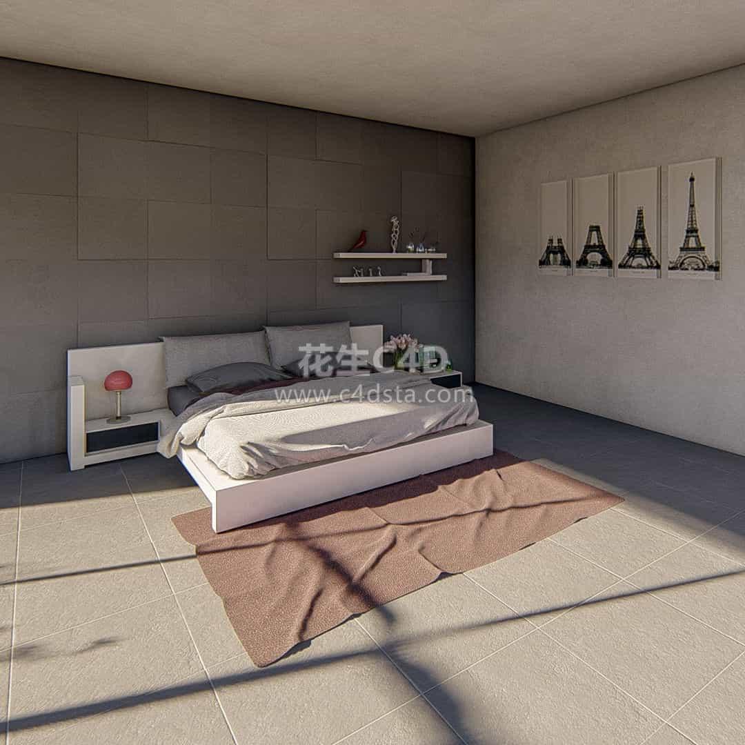 三维模型-现代简约风格室内家具卧室模型 626CG资源站
