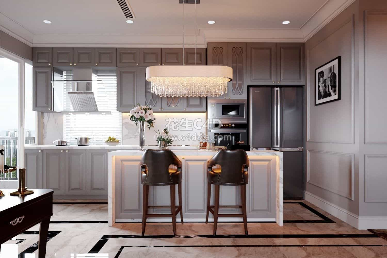 三维模型-欧美风格客厅餐厅室内家具模型 626CG资源站