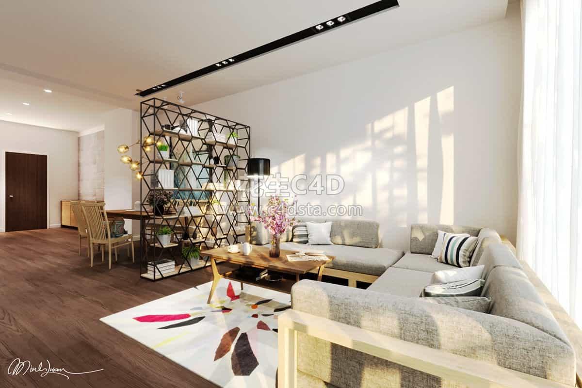 三维模型-现代简约客厅精模室内家具模型 626CG资源站
