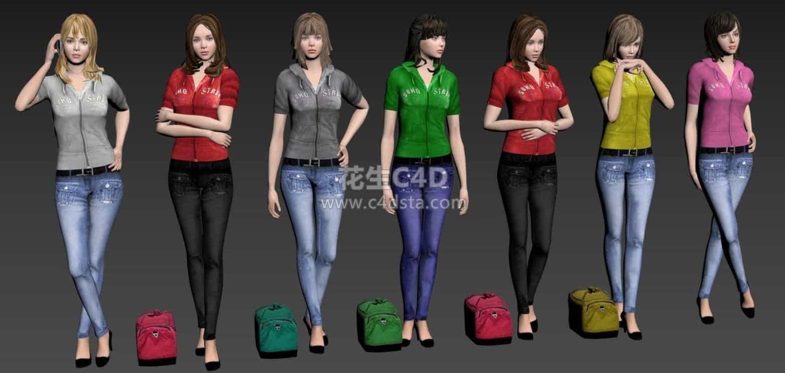 三维模型-七个女生模特女性角色模型合集 626CG资源站
