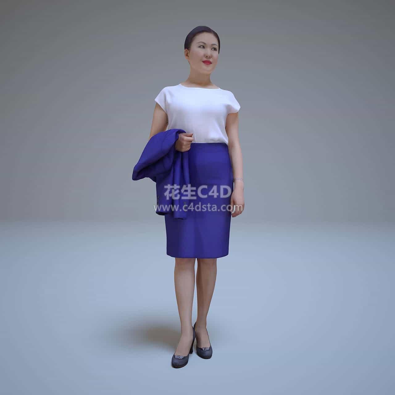 三维模型-亚洲女商人职业装女性角色模型 626CG资源站