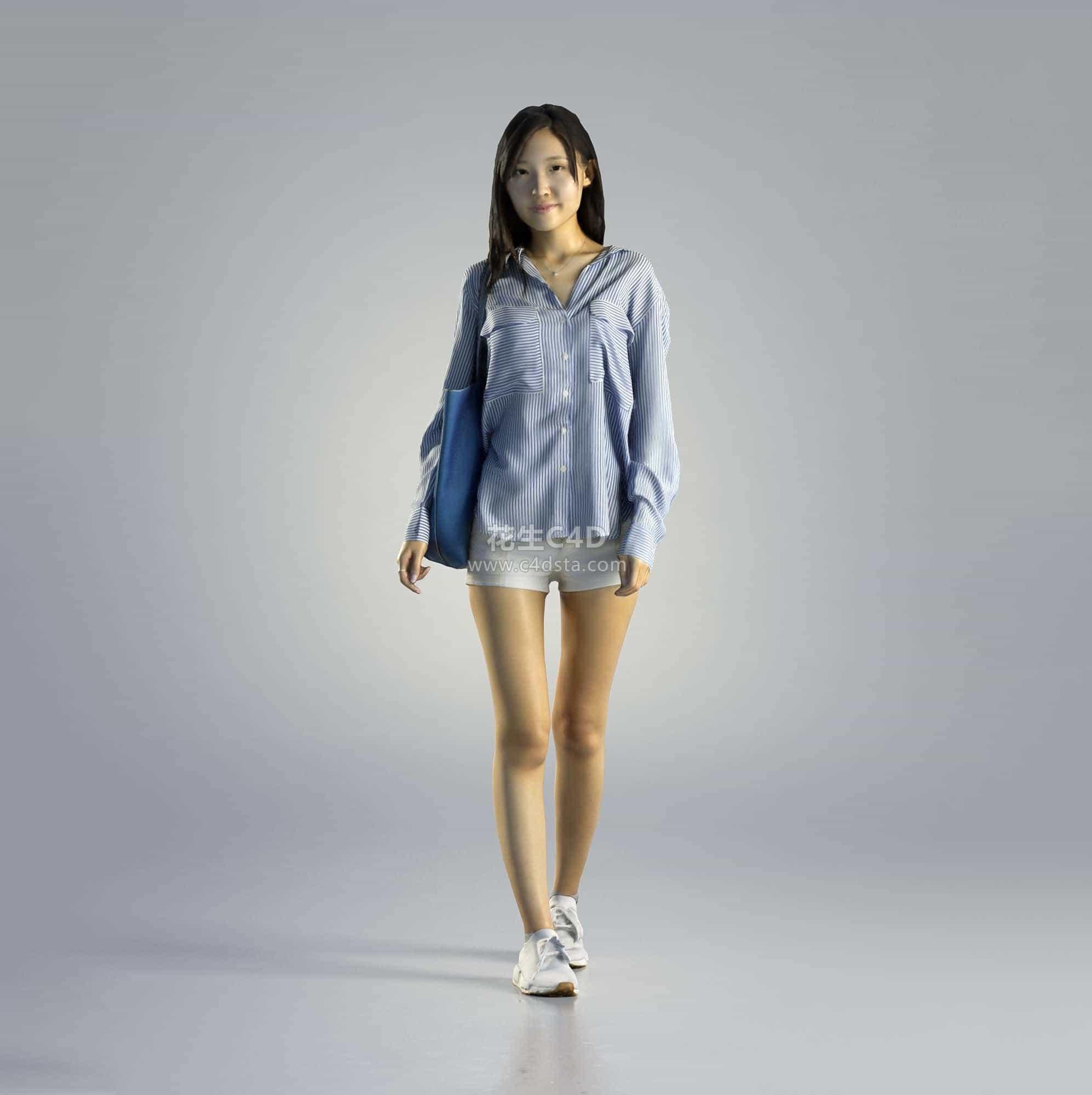 三维模型-休闲时尚女孩模型女性角色女生模型 626CG资源站