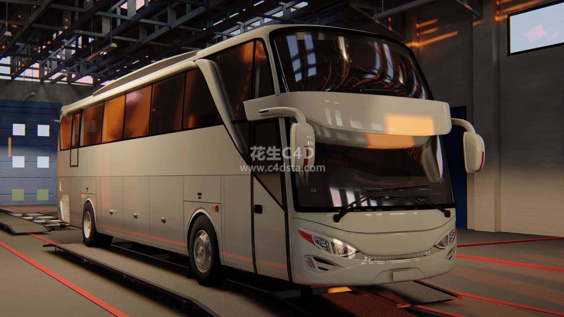 三维模型-大巴车现代公交车长途客运汽车客车模型 626CG资源站