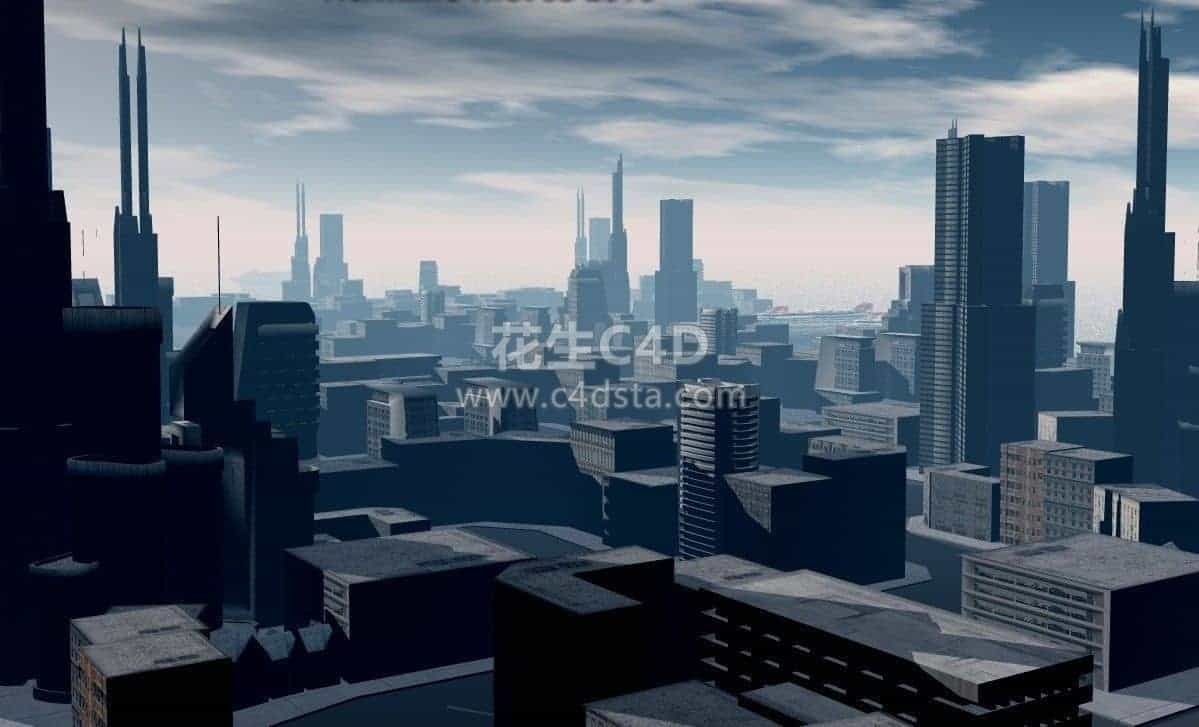 三维模型-Low Poly 风格 城市楼群建筑场景低多边形模型 626CG资源站