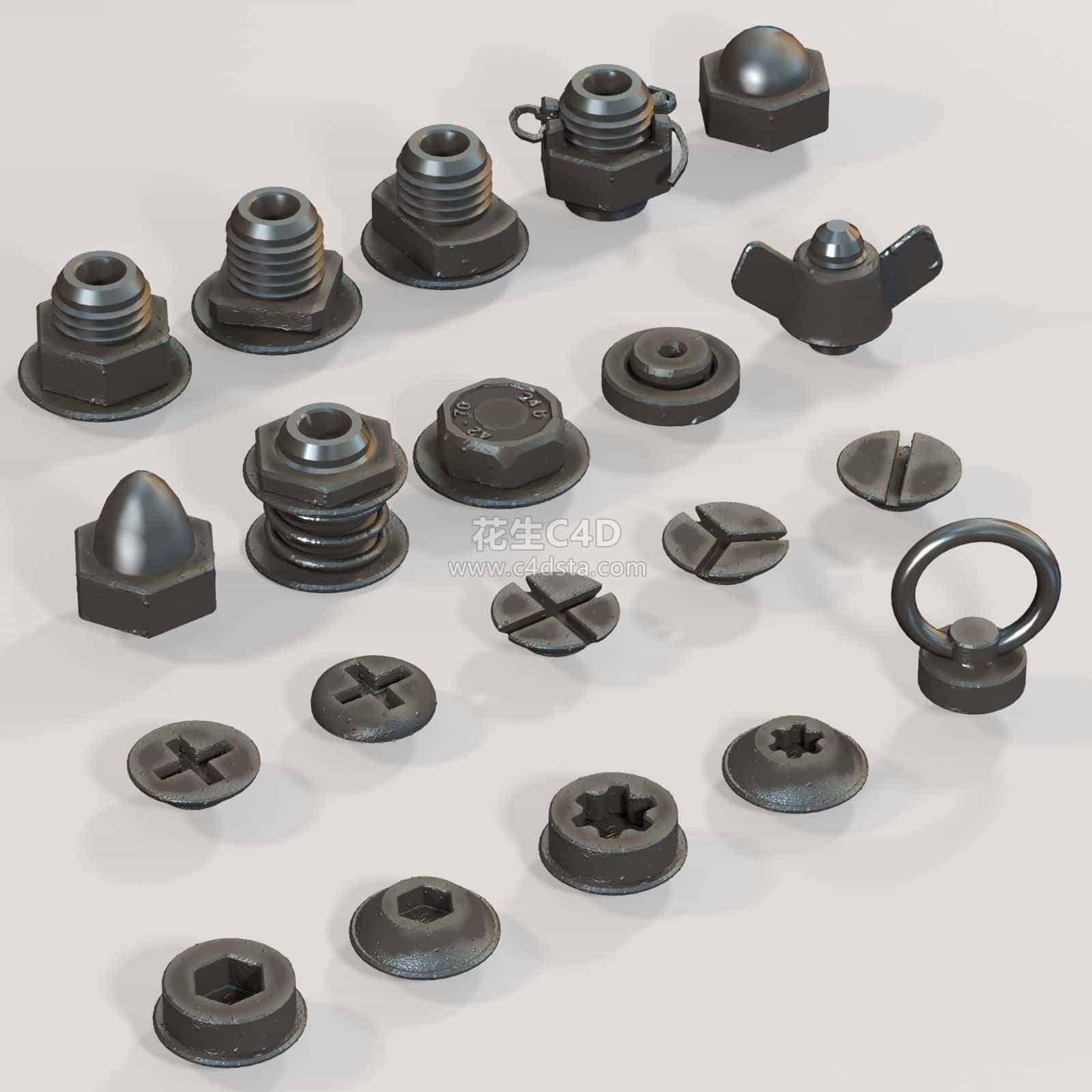 三维模型-常用机械零部件螺丝螺母配套大全 626CG资源站
