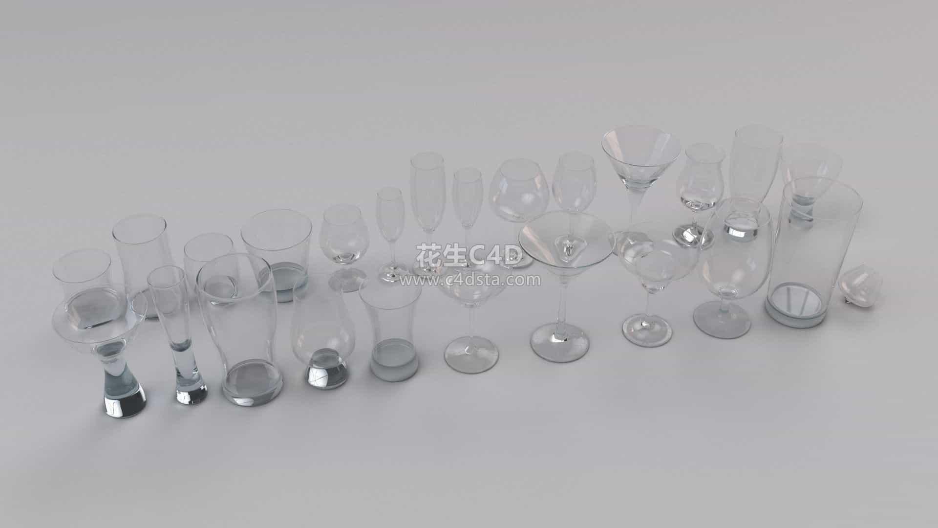 三维模型-25款不同样式玻璃杯酒杯 626CG资源站