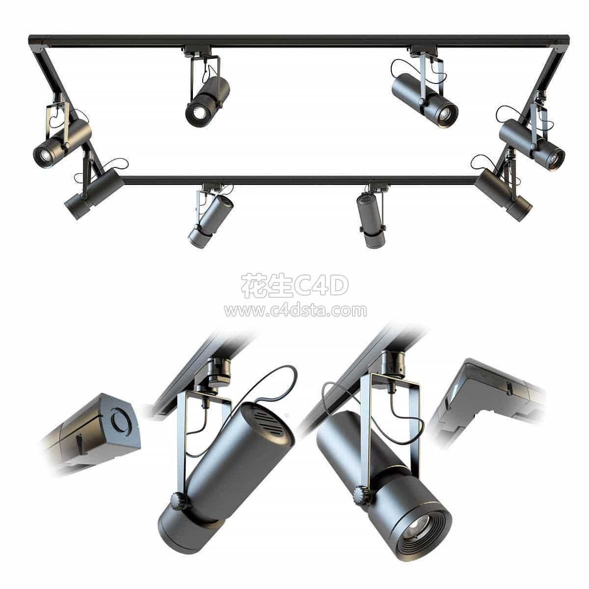 三维模型-舞台射灯展厅灯店铺射灯模型 626CG资源站