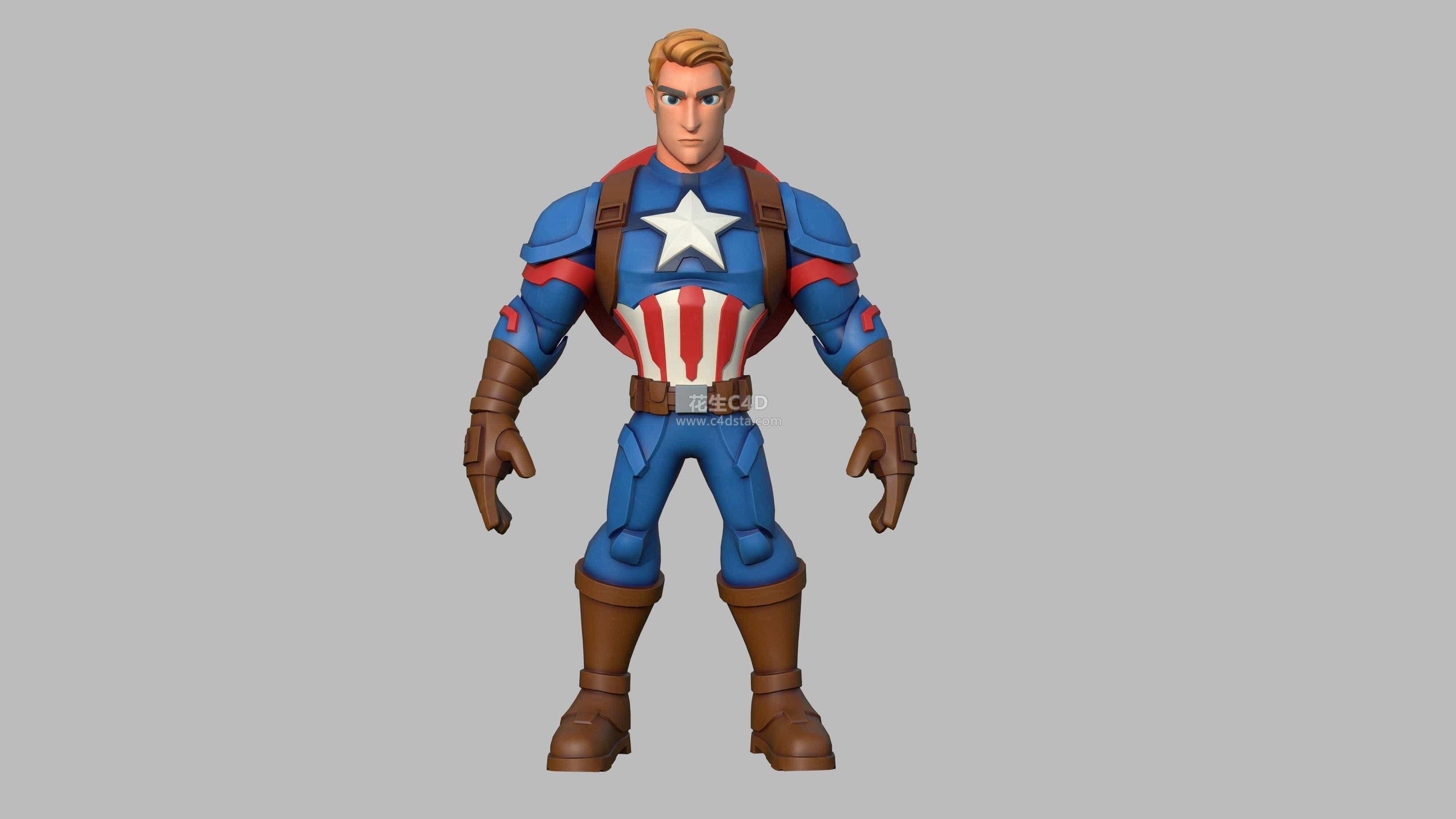 三维模型-卡通角色美国队长漫威英雄艺术3D模型 626CG资源站