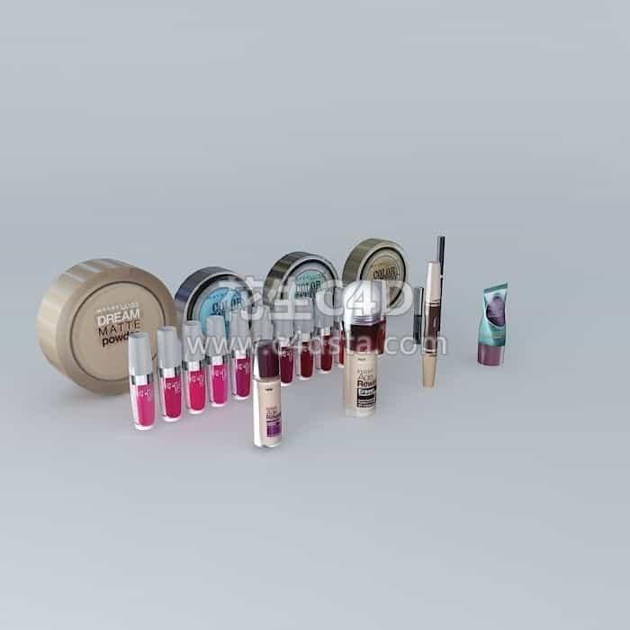 三维模型-电商产品口红唇釉粉底液粉饼气垫化妆品模型套装 626CG资源站