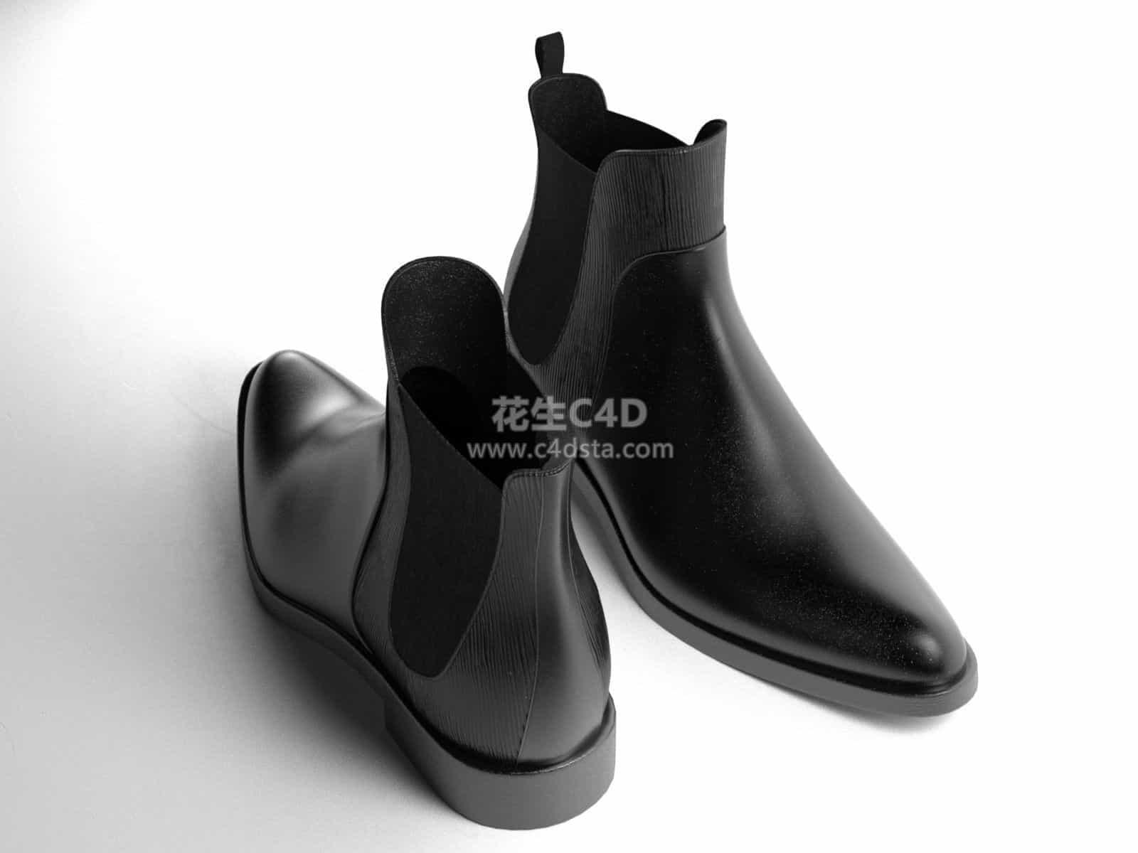 三维模型-超精细女士皮鞋短款马丁靴模型 626CG资源站