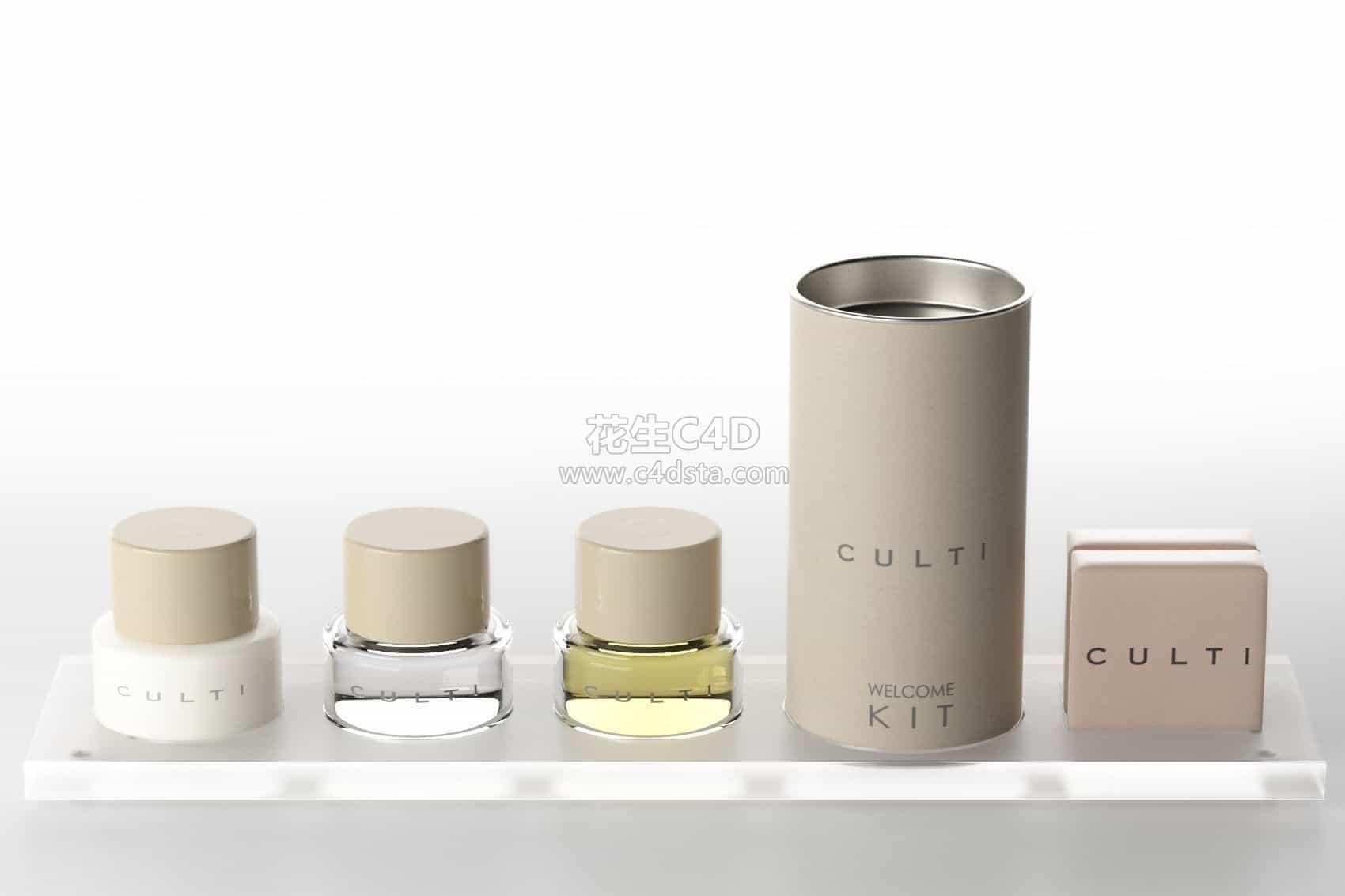 三维模型-电商产品化妆品护肤品组合精油身体乳瓶子套装 626CG资源站