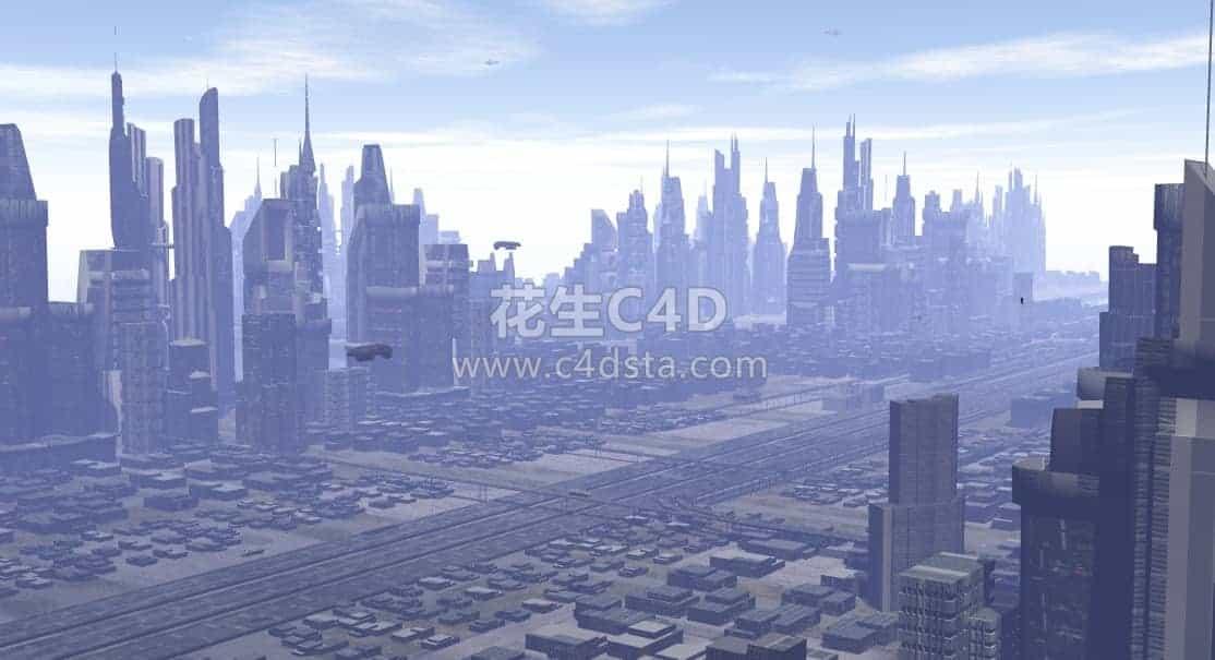三维模型-科幻CG场景未来鸟瞰城市模型 626CG资源站