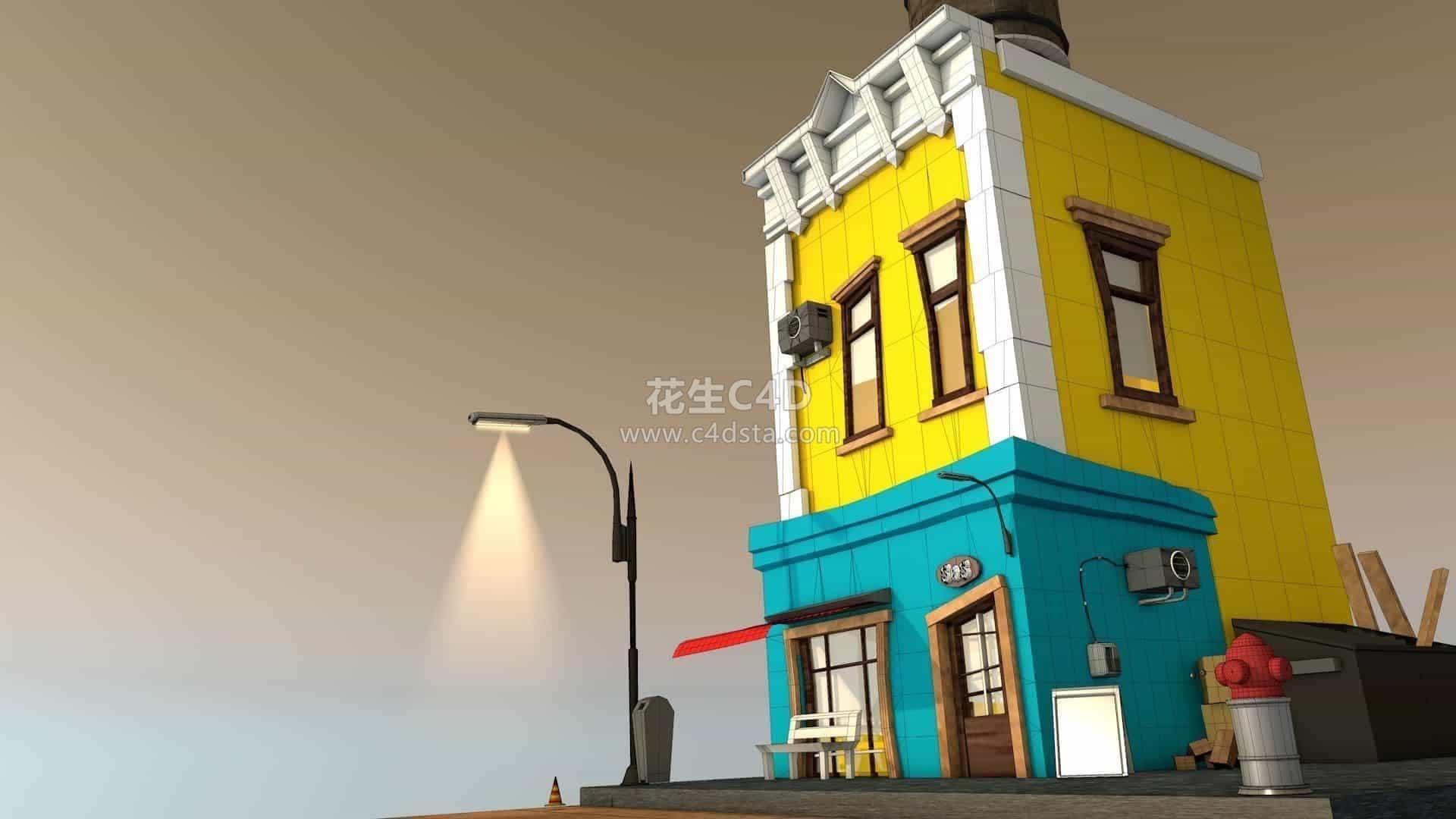 三维模型-卡通Q版Low Poly风格二层小楼建筑模型 626CG资源站