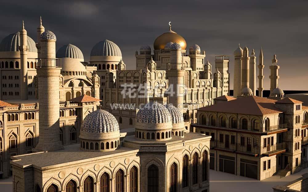 三维模型:中东地区楼房建筑场景3D模型Kitbash3D-Middle East 626CG资源站