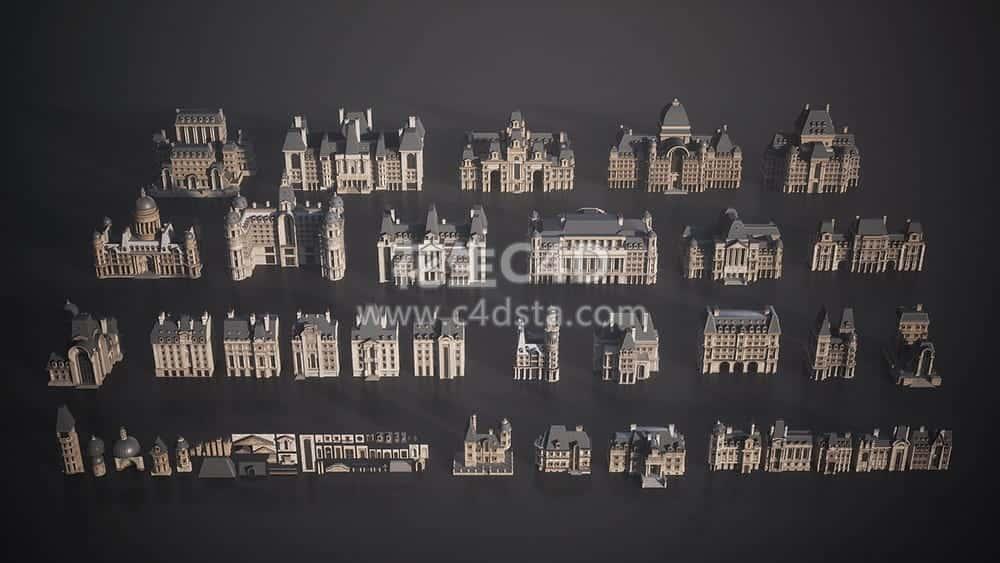 三维模型:巴黎建筑楼房欧式建筑城堡3D模型 KitBash3D Parisian 626CG资源站