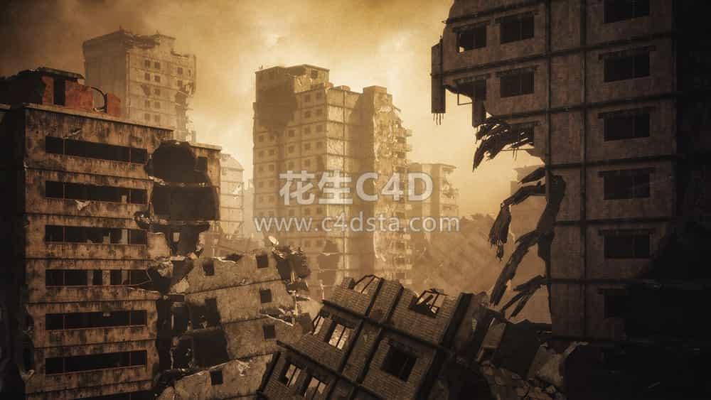 三维模型:末日毁灭战后废墟城市场景3D模型 KitBash3D Aftermath 626CG资源站