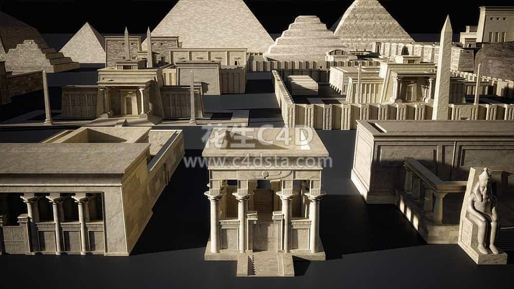 三维模型:埃及金字塔古城建筑3D模型合集 Kitbash3d Egypt 626CG资源站