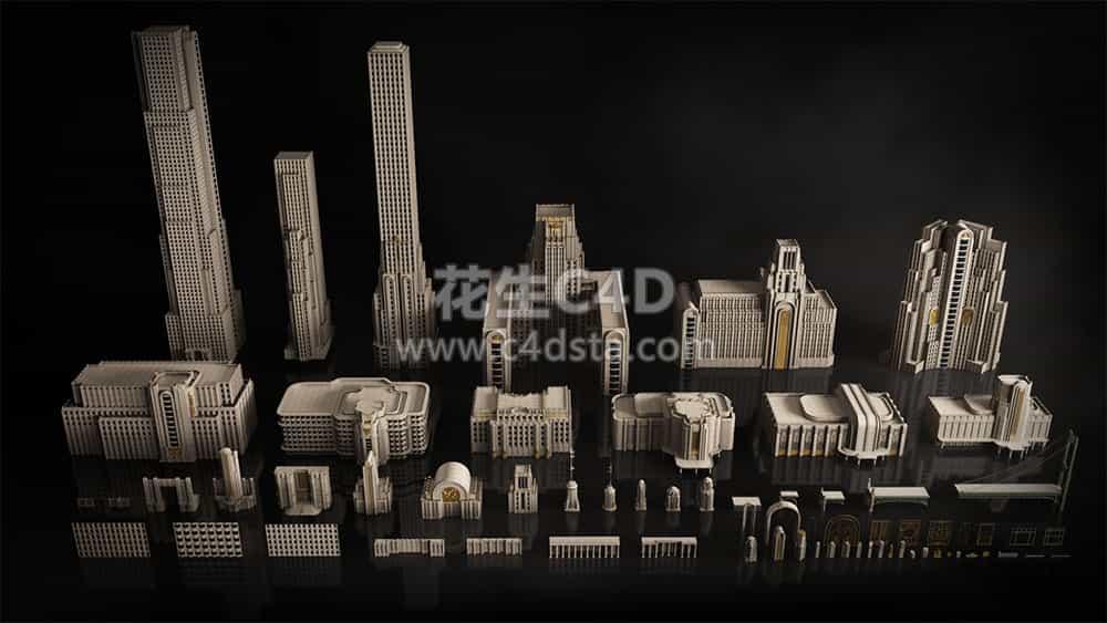 三维模型:欧美建筑景观装饰艺术景观3D模型合集 KitBash3D-Art Deco 626CG资源站