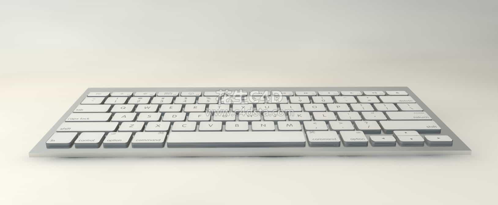 三维模型-白色电脑键盘苹果键盘质感超好的电脑键盘模型 626CG资源站