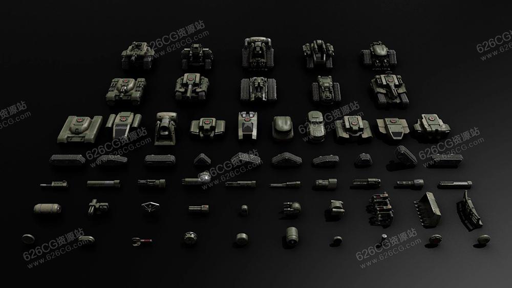 三维模型:坦克车装甲车 Kitbash3D – Veh: Tanks 626CG资源站