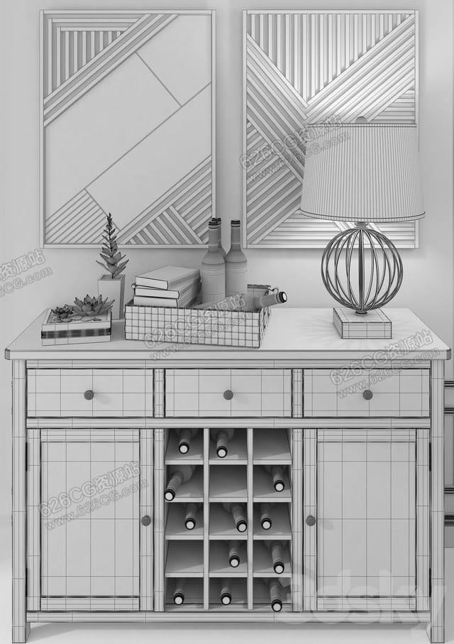 三维模型:现代简约木质柜子红酒柜置物柜储物柜台灯挂画木质桌子绿植书本 626CG资源站