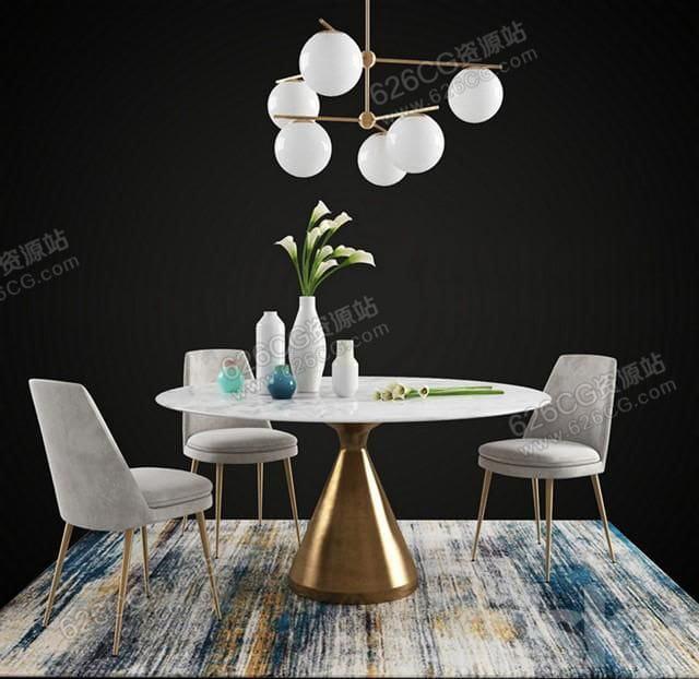三维模型:现代餐桌椅圆形餐桌多人圆形餐桌椅餐桌摆件餐厅灯饰 626CG资源站