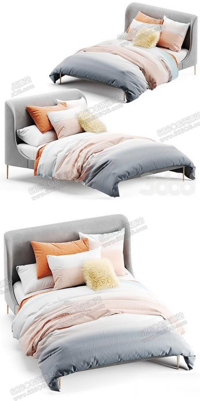 三维模型:现代简约布艺双人床 床上四件套 枕头模型 626CG资源站