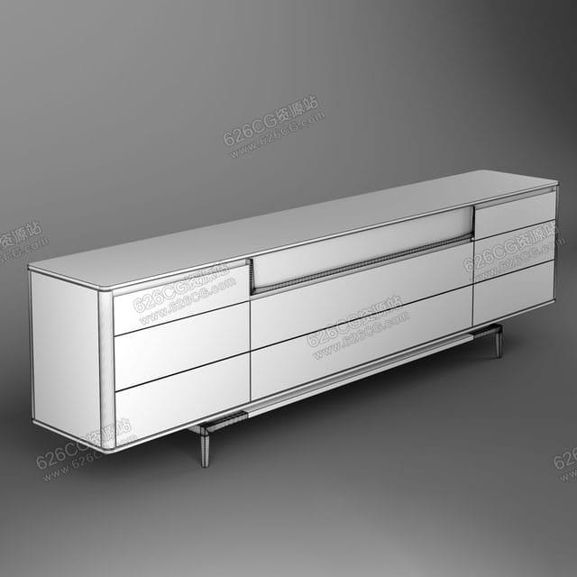 三维模型:北欧简约轻奢风格电视机柜玻璃茶几伸缩电视柜 626CG资源站
