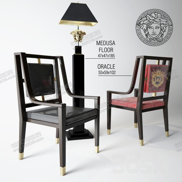 三维模型:新中式休闲椅子复古立式台灯装饰画 626CG资源站