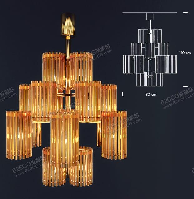 三维模型:现代轻奢水晶吊灯餐厅客厅灯饰 626CG资源站