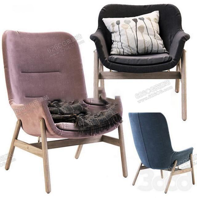 三维模型:咖啡店会客木质布艺简约写实单人沙发 626CG资源站
