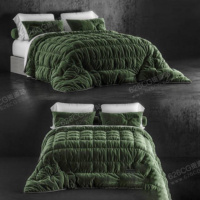 三维模型:欧美风格豪华大床卧室双人床装修装饰 626CG资源站