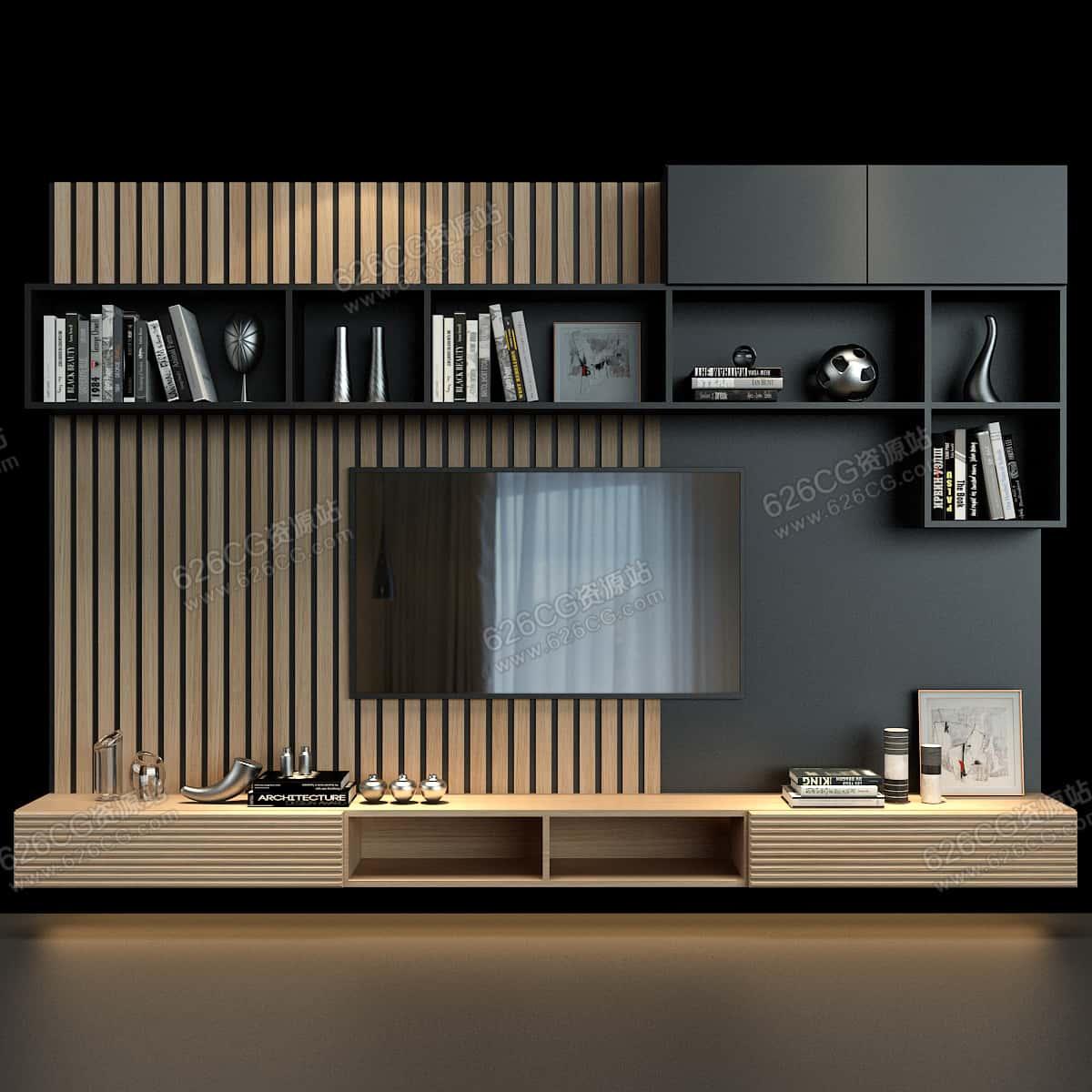 三维模型:高档木格栅背景墙客厅电视墙客厅置物架电视柜置物架 626CG资源站