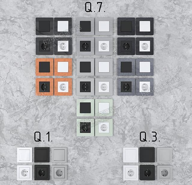 三维模型:各种现代开关中央空调开关家用空调开关家用开关开关按钮 626CG资源站