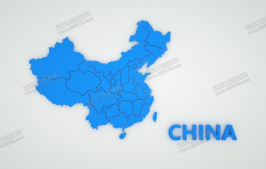三维模型:中国地图省份辖区地图板块未来科技地图模型 626CG资源站