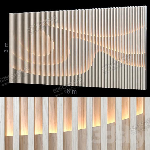 三维模型:现代流行高档木格栅电视背景墙木质条纹造型背景 626CG资源站