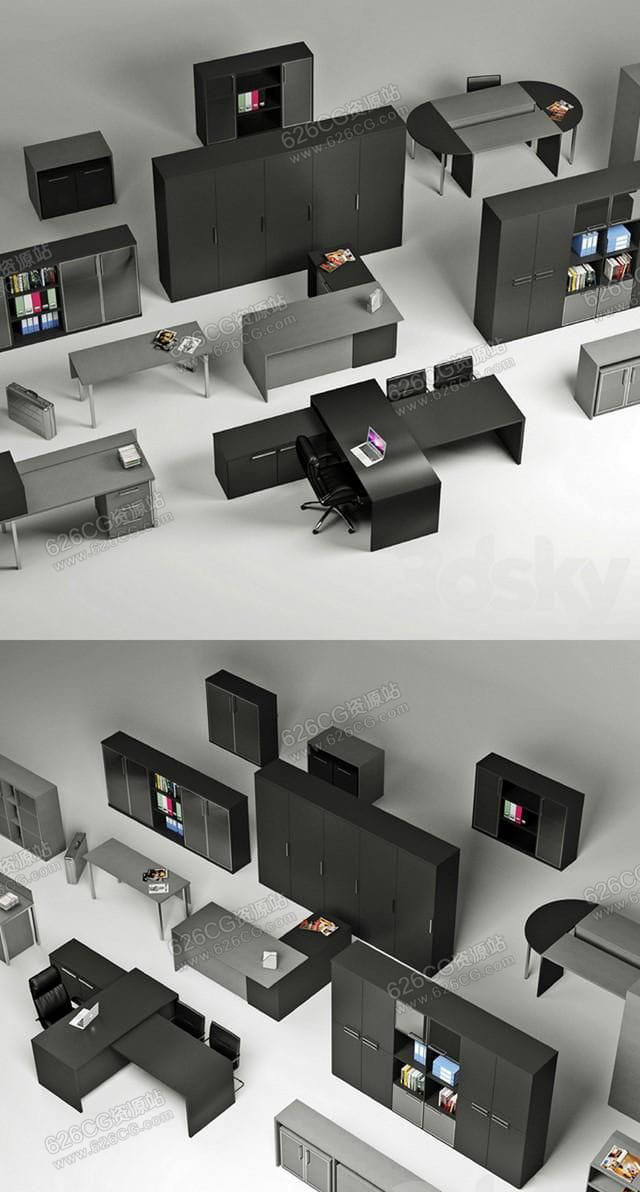 三维模型:现代简约办公桌电脑桌储物柜书柜老板桌写字桌文件柜 626CG资源站