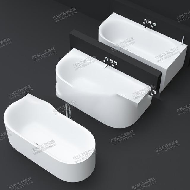 三维模型:简约卫浴圆形浴缸卫生间泡澡池 626CG资源站