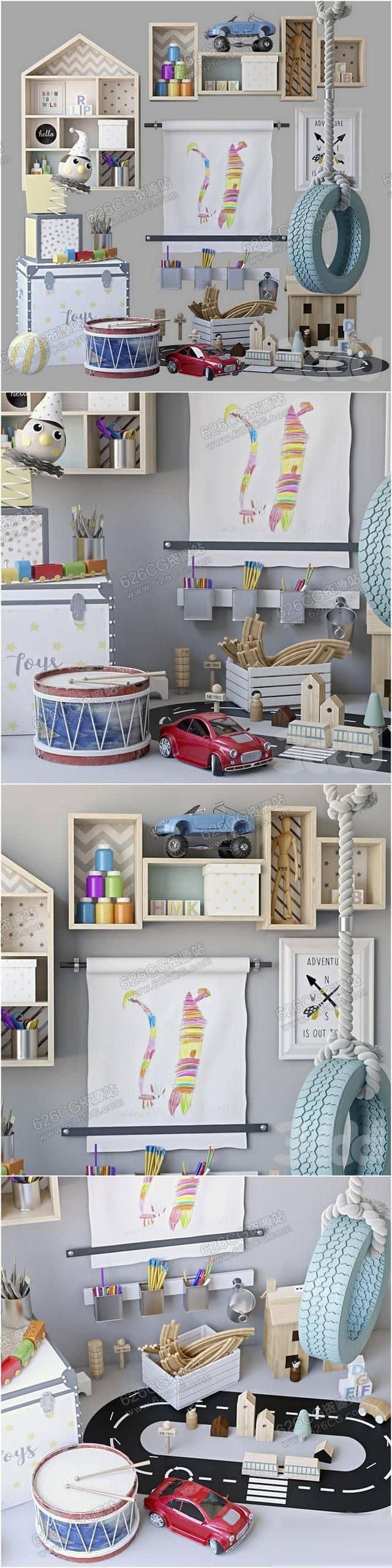 三维模型:儿童房装饰品玩具摆件挂画卡通饰品收纳柜轮胎摆件 626CG资源站