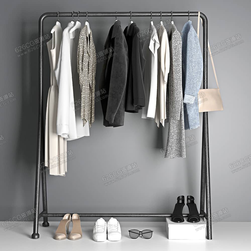 三维模型:衣服鞋子服装店衣架裙子衬衣西装包包短袖风衣墨镜 626CG资源站